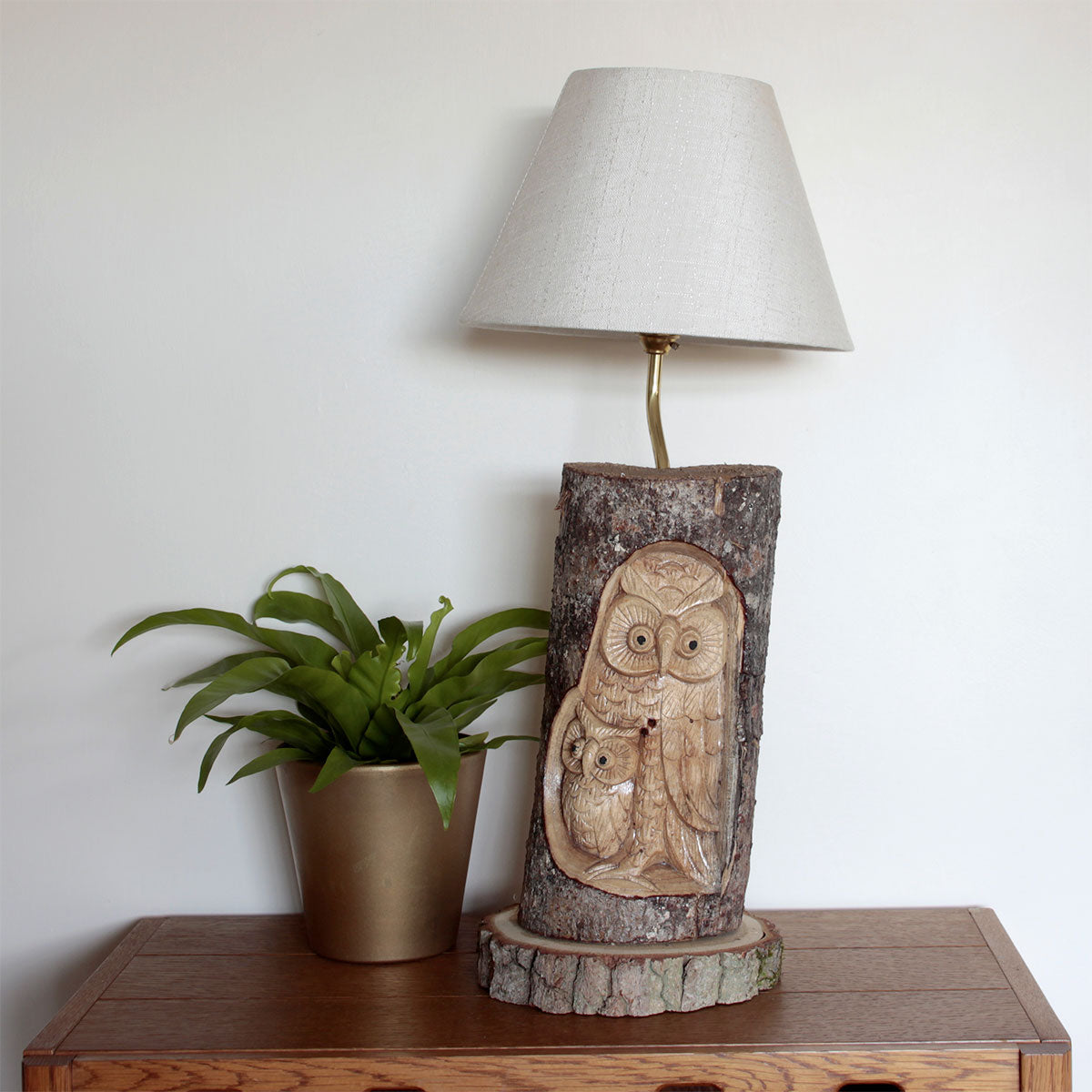 Carved log owl design indoor table lamp p n crafts hand carved log owl table lamp beautifully hand crafted sculpture with amazing detail aloadofball Image collections