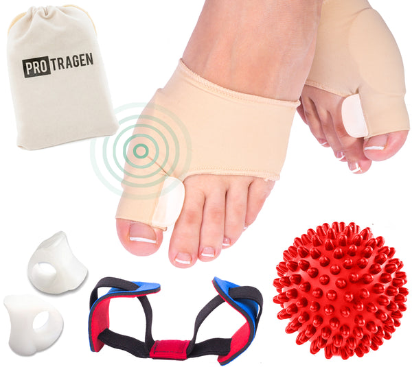 Bunion Correctors and Foot Massage Ball Set with Hypoallergenic Gel Pads