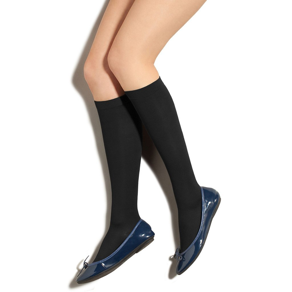 Preggers Ribbed Trousers Socks 10-15 MMHG Black Small