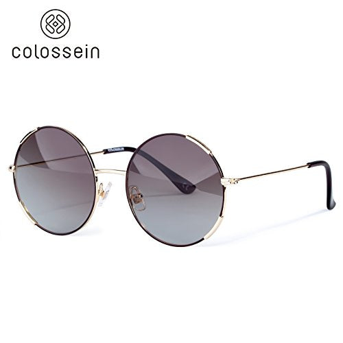 COLOSSEIN Light Metal Frame Round Polarized Mirror Lens Fashion Sunglasses - Colossein Fashion polarized Sunglasses Vintage  Retro handcraft for men women
