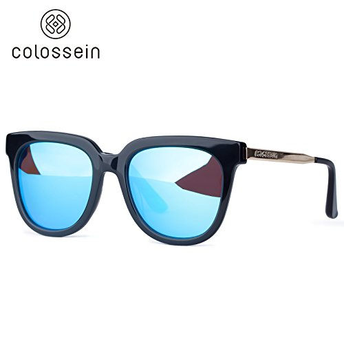 Colossein Oversized Polarized Mirror Fashion Sunglasses,Ultra Quality Acetate Frame - Colossein Fashion polarized Sunglasses Vintage  Retro handcraft for men women