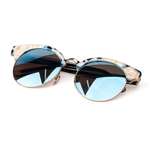 Colossein Hand Made Acetate Frame Mirror Polarized Fashion Sunglasses For Women - Colossein Fashion polarized Sunglasses Vintage  Retro handcraft for men women