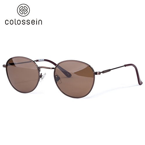 Colossein Classic Round Polarized Sunglasses,Metal Frame,Golden Colors Coating,Ultra Quality Polarized Lens, Fit for Men or women - Colossein Sunglasses