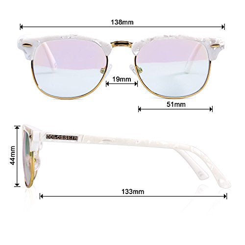 Classic Half Frame Fashion Glasses For Anti-blue Rays ,Unisex - Colossein Fashion polarized Sunglasses Vintage  Retro handcraft for men women