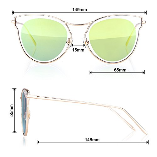 Cat eye Style Fashion Sunglasses For Women,Ultra Quality Metal Frame,UV 400 - Colossein Fashion polarized Sunglasses Vintage  Retro handcraft for men women