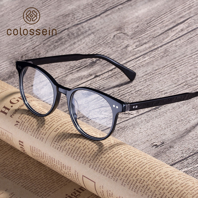 COLOSSEIN Luxury Vintage Clear Lens Black Handmade Acetate Eyewear Frame - Colossein Fashion polarized Sunglasses Vintage  Retro handcraft for men women