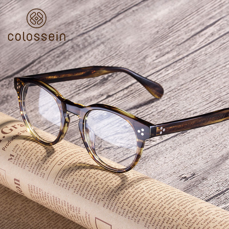 Calssic Style HandCrafted Acetate eyewear Frame - Colossein Fashion polarized Sunglasses Vintage  Retro handcraft for men women