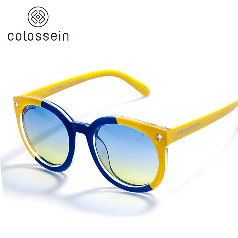 COLOSSEIN Round Frame Oceanic Color Lens for Women Fashion Sunglasses - Colossein Fashion polarized Sunglasses Vintage  Retro handcraft for men women