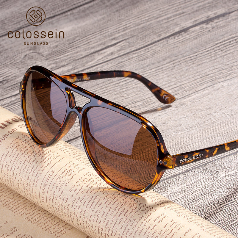 COLOSSEIN Classic Pilot Style Fashion Polarized Sunglasses - Colossein Fashion polarized Sunglasses Vintage  Retro handcraft for men women