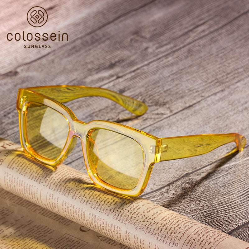 COLOSSEIN Hot Summer Yellow Square Frame Fashion Sunglasses - Colossein Fashion polarized Sunglasses Vintage  Retro handcraft for men women