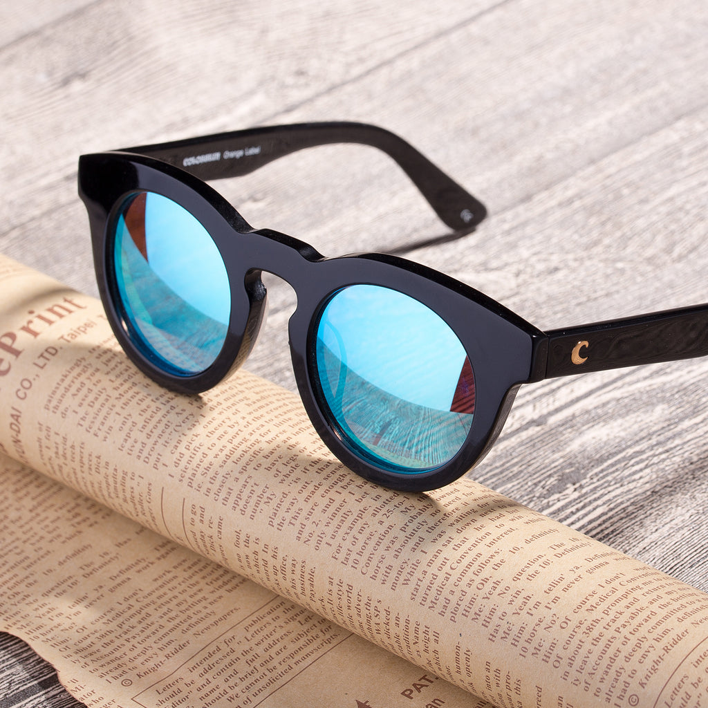 COLOSSEIN Classic Round Blue Lens Black Frame Polarized Fashion Sunglasses - Colossein Fashion polarized Sunglasses Vintage  Retro handcraft for men women
