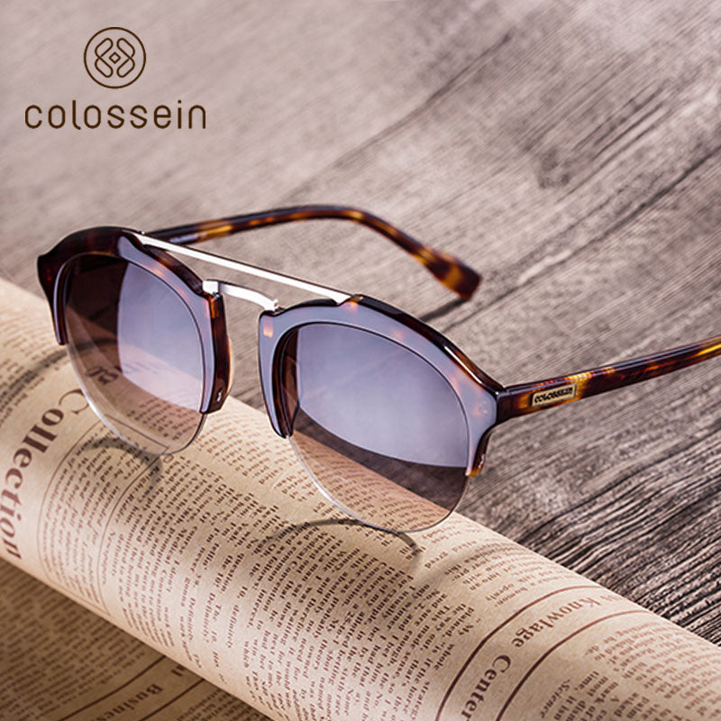 COLOSSEIN Handmade Acetate Fashion Sunglasses with Brown HD Lens for Women - Colossein Fashion polarized Sunglasses Vintage  Retro handcraft for men women