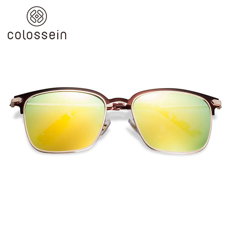COLOSSEIN Classic Square Metal Half Frame with Mirror Polarized Lenses Sunglasses - Colossein Fashion polarized Sunglasses Vintage  Retro handcraft for men women