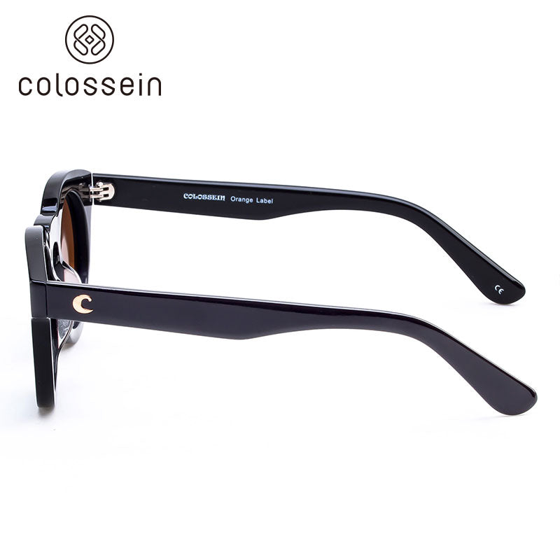 COLOSSEIN Classic Round Pink Lens Black Frame Polarized Fashion Sunglasses - Colossein Fashion polarized Sunglasses Vintage  Retro handcraft for men women