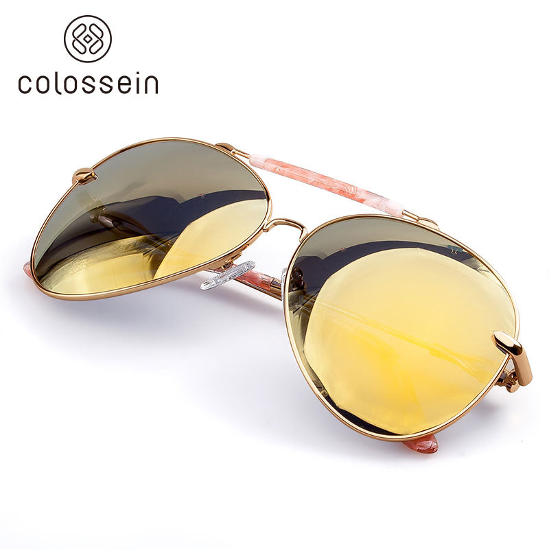 COLOSSEIN Oversized Vintage Oval Pilot Metal Frame Polarized Sunglasses - Colossein Fashion polarized Sunglasses Vintage  Retro handcraft for men women