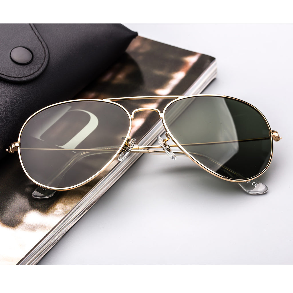 Classic Metal Sunglasses  with Mirror Coating UV 400 Polarized Lens Dark Green Colors - Colossein Fashion polarized Sunglasses Vintage  Retro handcraft for men women