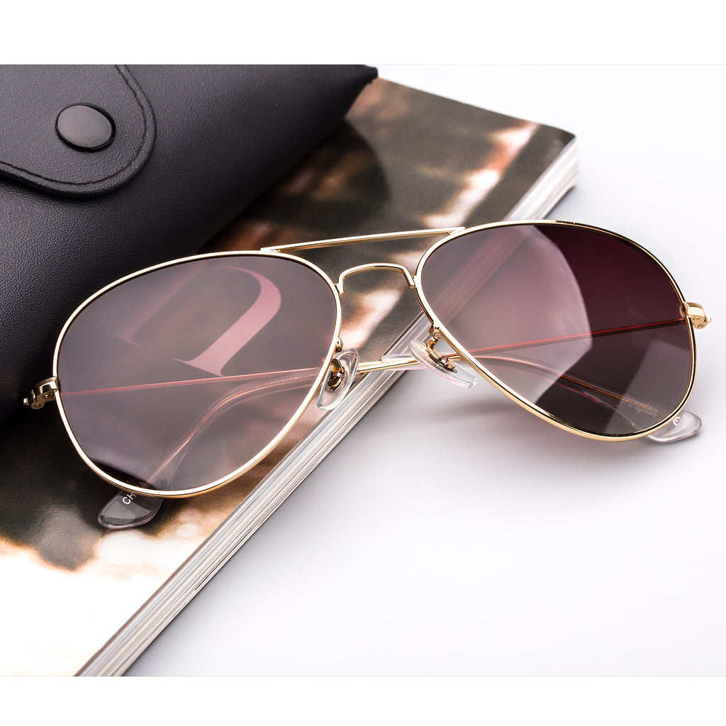 Classic Metal Sunglasses  with Mirror Coating UV 400 Polarized Lens Brown Colors - Colossein Fashion polarized Sunglasses Vintage  Retro handcraft for men women