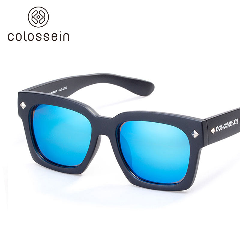 COLOSSEIN Women Street Square Frame Oversized Blue Polarized Lens Fashion Sunglasses - Colossein Fashion polarized Sunglasses Vintage  Retro handcraft for men women