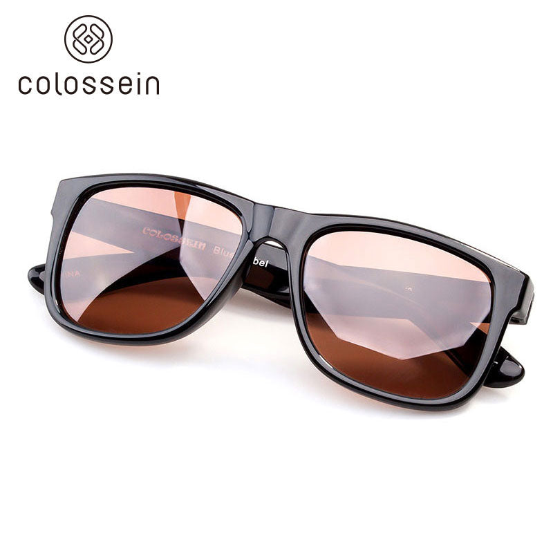 COLOSSEIN Retro Classic Square Black Frame Polarized Sunglasses - Colossein Fashion polarized Sunglasses Vintage  Retro handcraft for men women