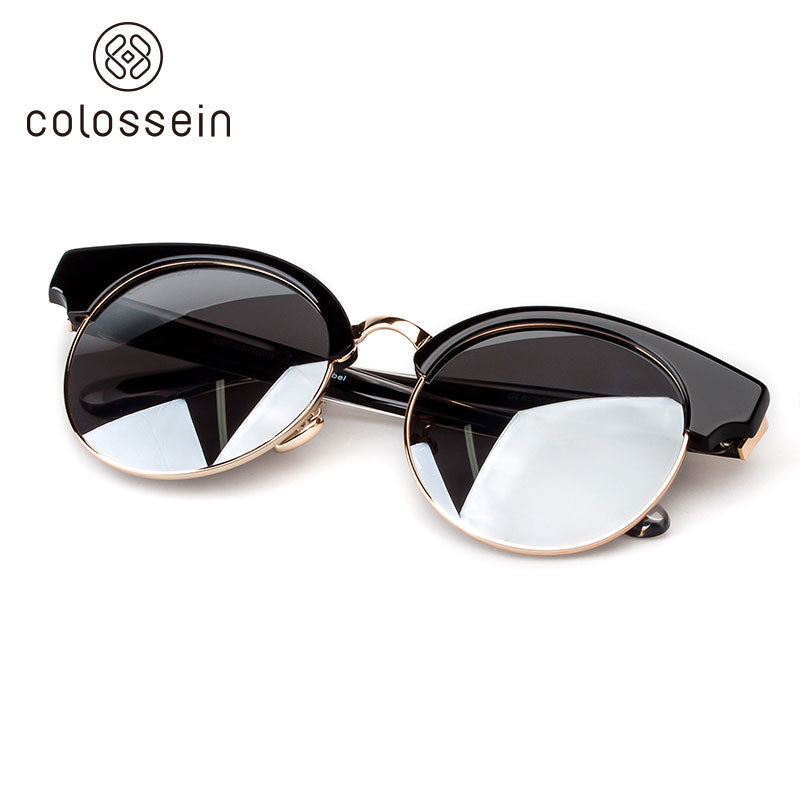 COLOSSEIN Classic Cat Eye style Round Lens Polarized Sunglasses - Colossein Fashion polarized Sunglasses Vintage  Retro handcraft for men women