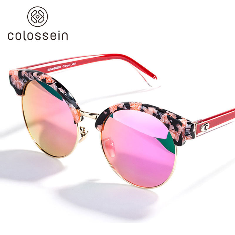 Classic Cat Eye style Round Lens Polarized Sunglasses for women - Colossein Fashion polarized Sunglasses Vintage  Retro handcraft for men women