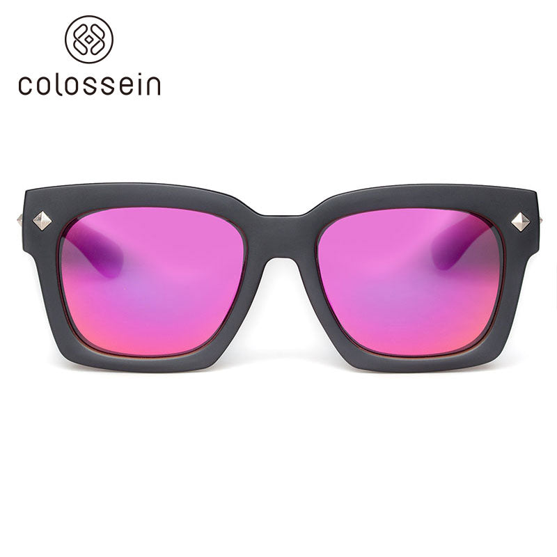 COLOSSEIN Women Street Square Frame Oversized Pink Polarized Lens Fashion Sunglasses - Colossein Fashion polarized Sunglasses Vintage  Retro handcraft for men women