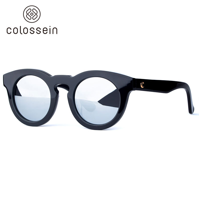 COLOSSEIN Classic Round Black Frame Polarized Fashion Sunglasses - Colossein Fashion polarized Sunglasses Vintage  Retro handcraft for men women
