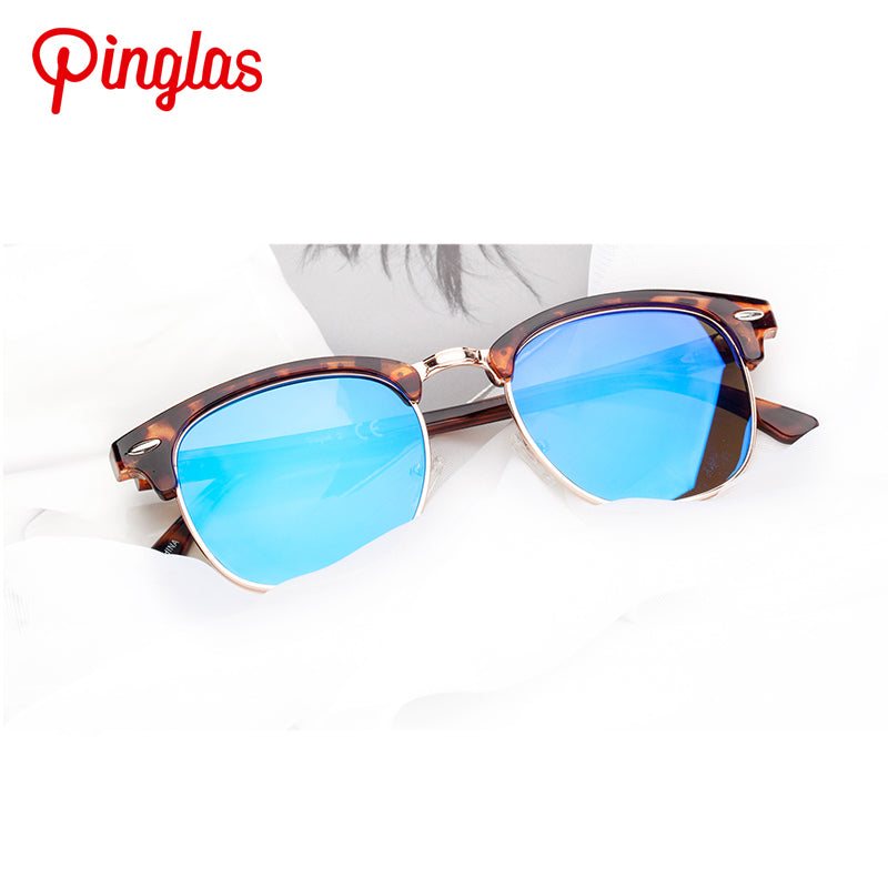 PINGLAS Round Fashion Sunglasses with mirror coating 100% UV protection Lens - Colossein Fashion polarized Sunglasses Vintage  Retro handcraft for men women