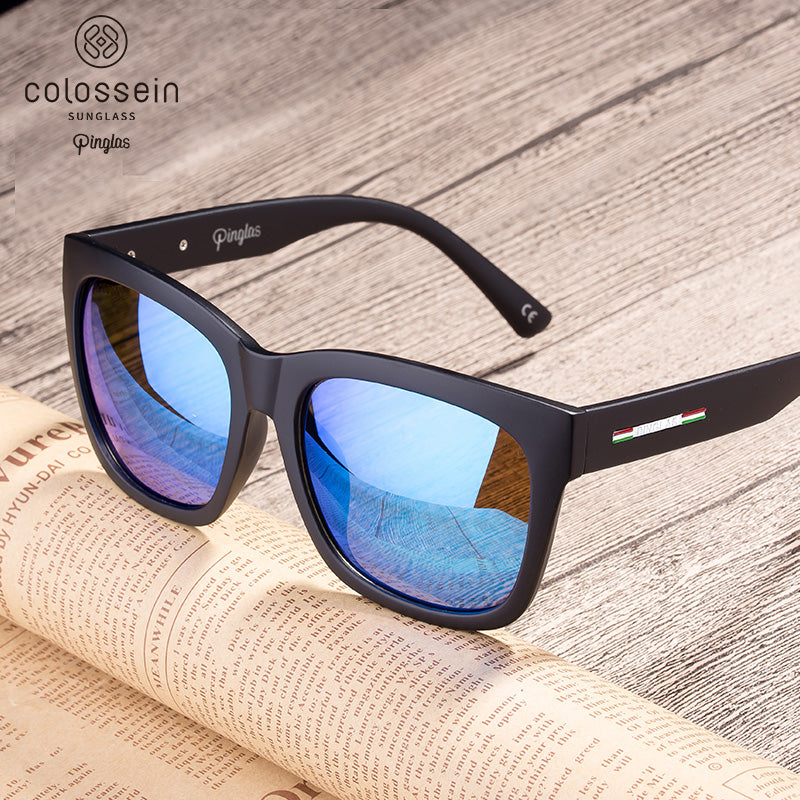 PINGLAS Square Frame with Polarized lenses w/ Polarized Lens - Colossein Fashion polarized Sunglasses Vintage  Retro handcraft for men women