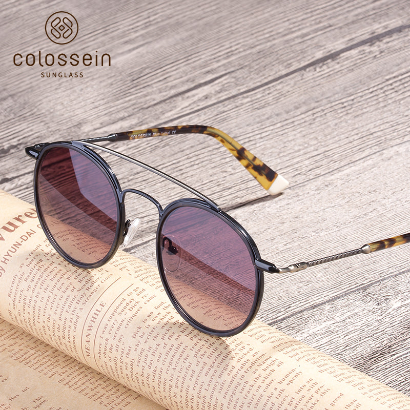 Classic Round Tortoise Retro Fashion Sunglasses - Colossein Fashion polarized Sunglasses Vintage  Retro handcraft for men women