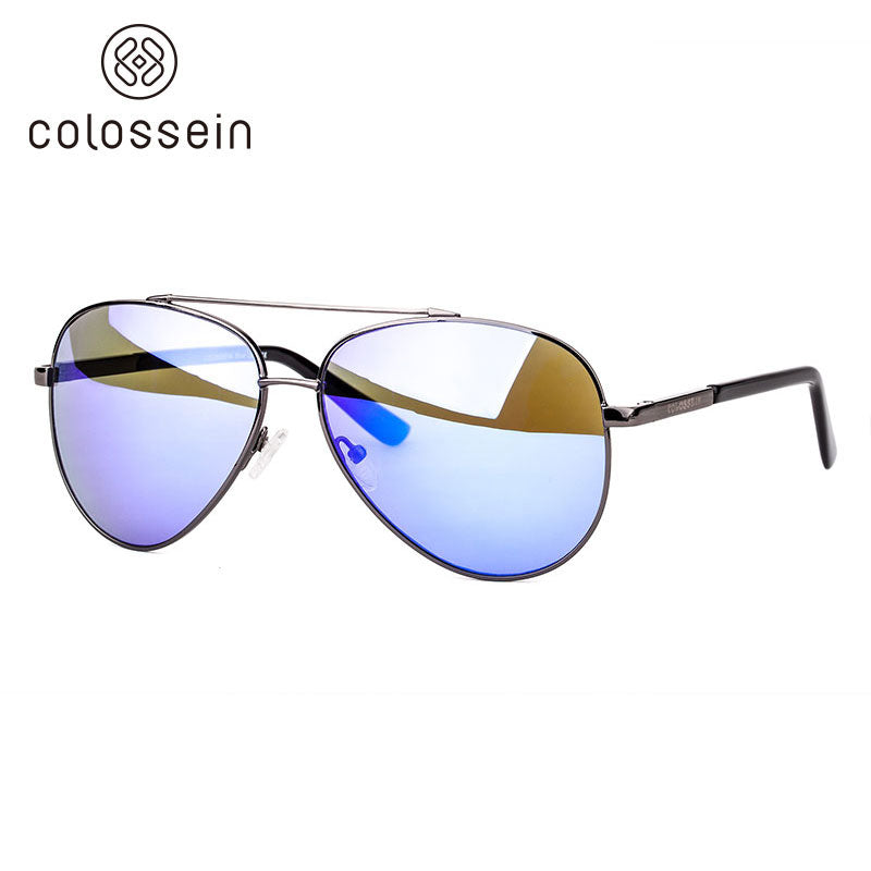 COLOSSEIN Pilot Style Oval Metal Frame Polarized Eyewear Fishing Driving Sunglasses - Colossein Fashion polarized Sunglasses Vintage  Retro handcraft for men women