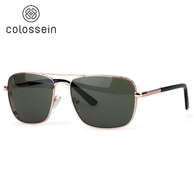 Classic Square Frame Polarized Sunglasses for men - Colossein Fashion polarized Sunglasses Vintage  Retro handcraft for men women