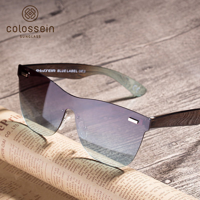 COLOSSEIN Fashion Sunglasses One piece Square Frame - Colossein Fashion polarized Sunglasses Vintage  Retro handcraft for men women