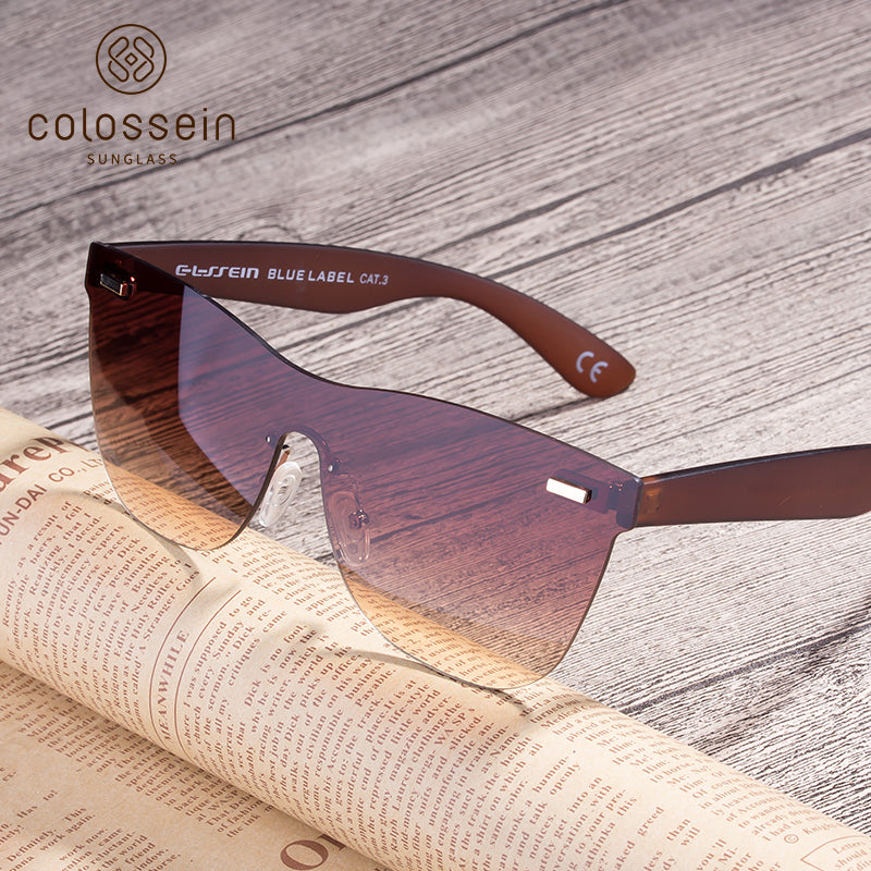 COLOSSEIN Fashion Sunglasses One piece Lens Square Frame - Colossein Fashion polarized Sunglasses Vintage  Retro handcraft for men women