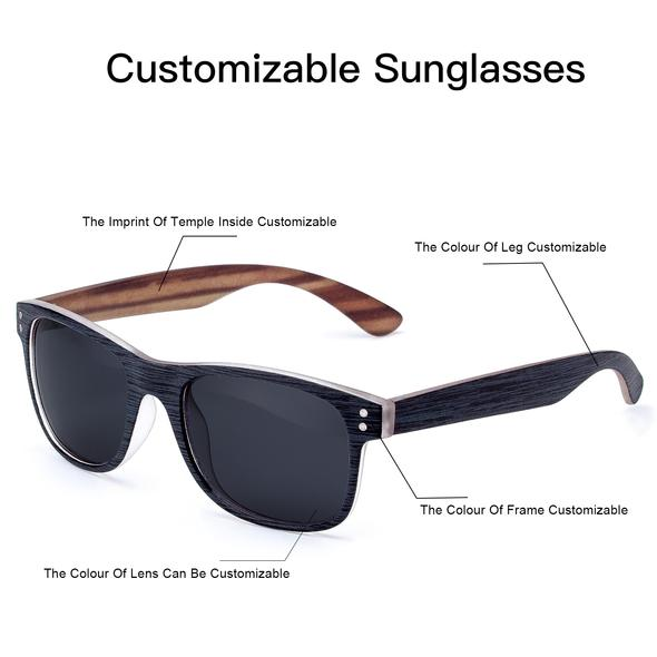Customizable Fashion Sunglasses Double color wood grain frame  100% UV protection Polarized Lens - Colossein Fashion polarized Sunglasses Vintage  Retro handcraft for men women