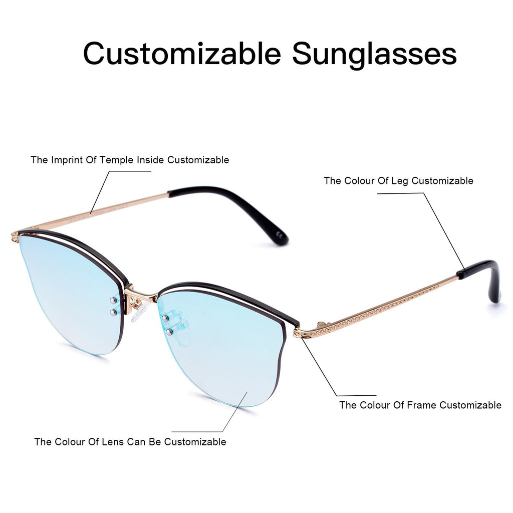 Customizable Rimless Frame sunglasses Mirror Lens with light-weight metal leg - Colossein Fashion polarized Sunglasses Vintage  Retro handcraft for men women