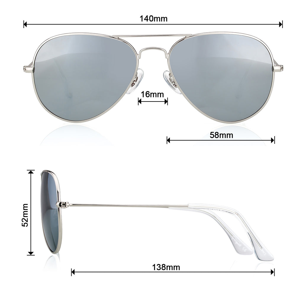 Classic Metal Sunglasses  with Mirror Coating UV 400 Polarized Lens Silver Grey Colors - Colossein Fashion polarized Sunglasses Vintage  Retro handcraft for men women