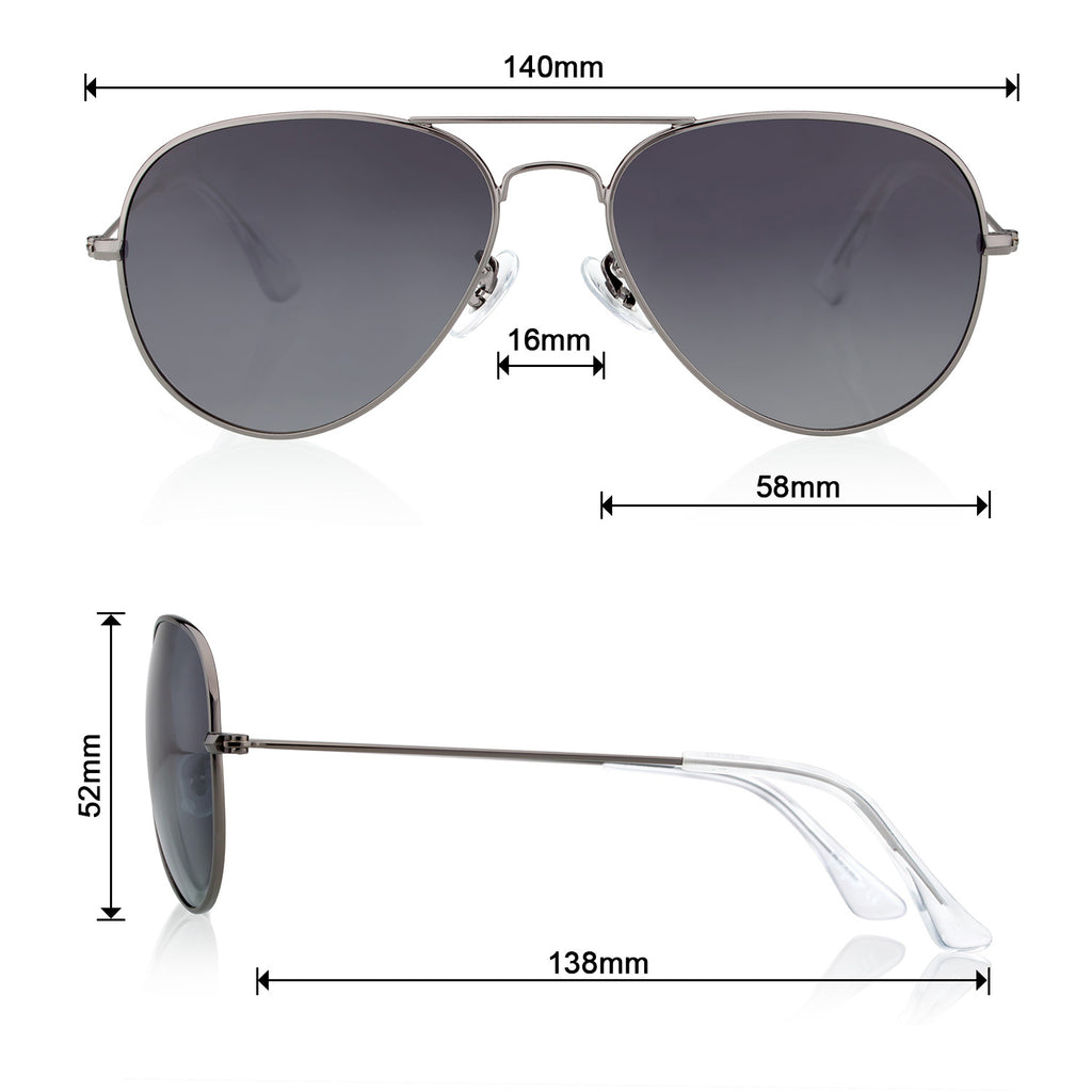 Classic Metal Sunglasses  with Mirror Coating UV 400 Polarized Lens Gray Colors - Colossein Fashion polarized Sunglasses Vintage  Retro handcraft for men women