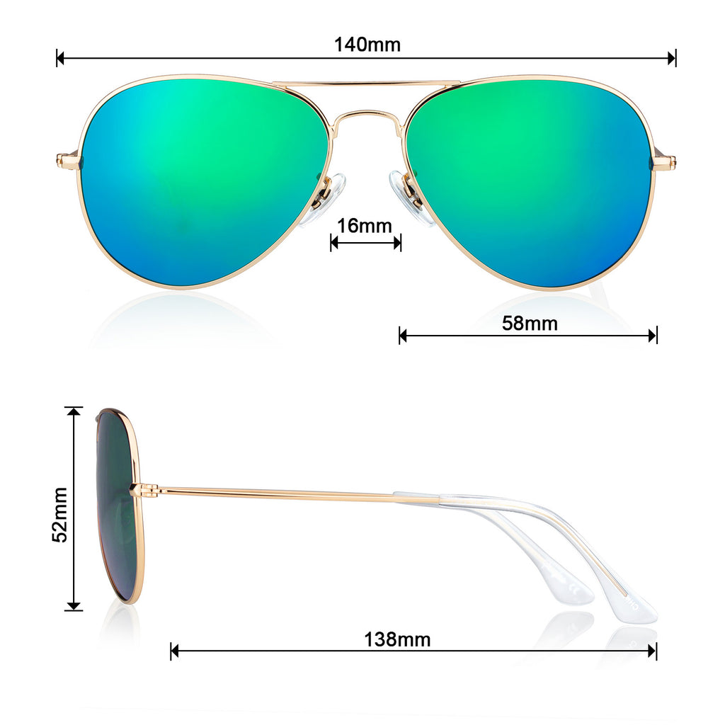 Classic Metal Sunglasses  with Mirror Coating UV 400 Polarized Lens Green Colors - Colossein Fashion polarized Sunglasses Vintage  Retro handcraft for men women