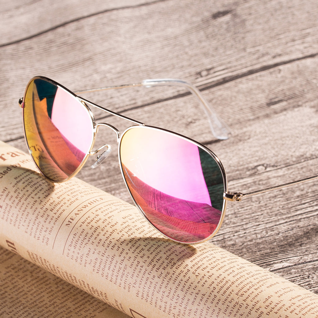 Classic Metal Sunglasses  with Mirror Coating UV 400 Polarized Lens Pink Colors - Colossein Fashion polarized Sunglasses Vintage  Retro handcraft for men women