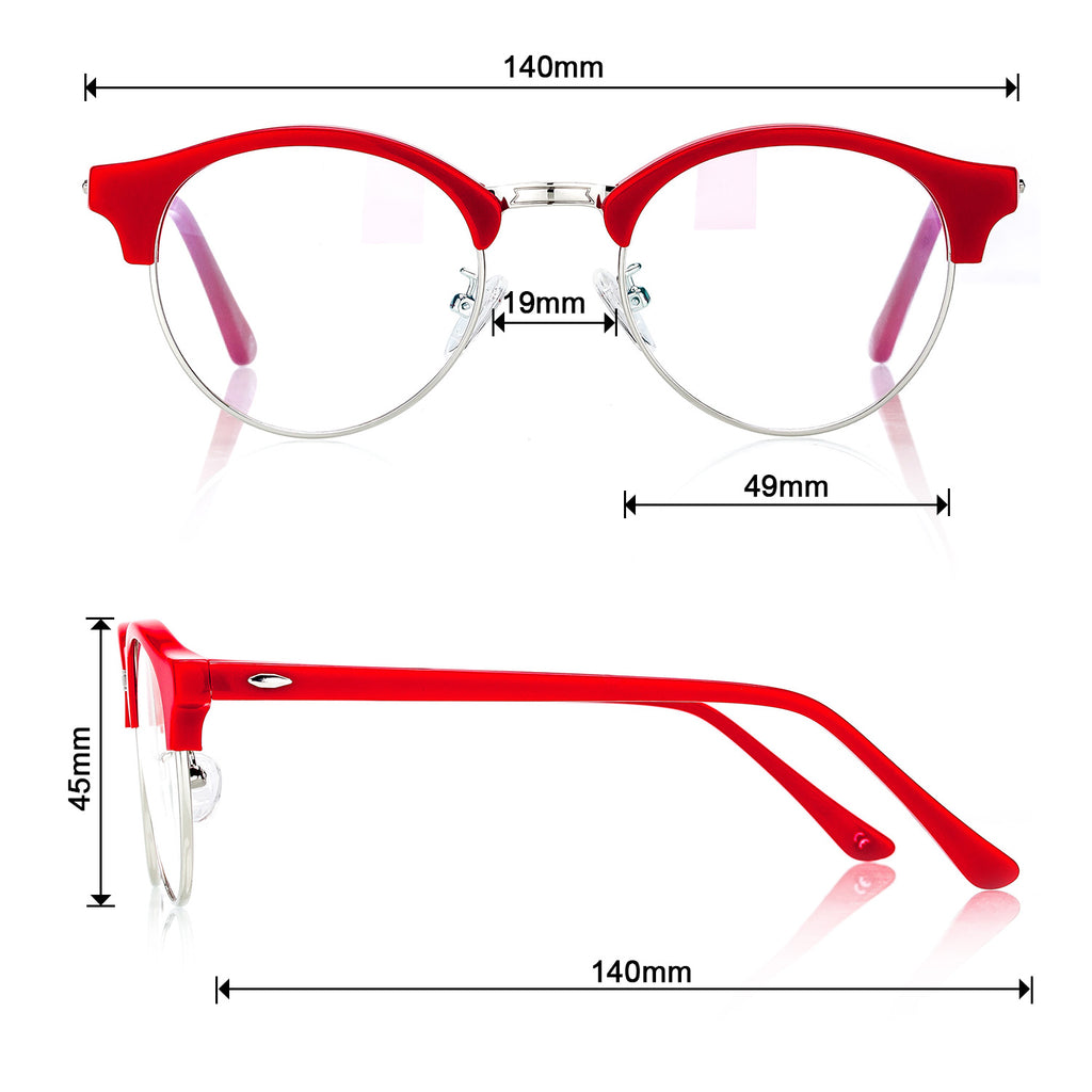 Red Optical Glasses light Acetate frame  Trim with clean lens