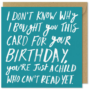 turquoise square child birthday card