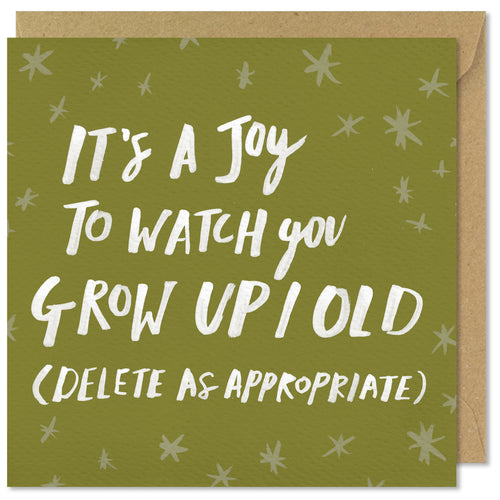 green square birthday card joy to watch you grow