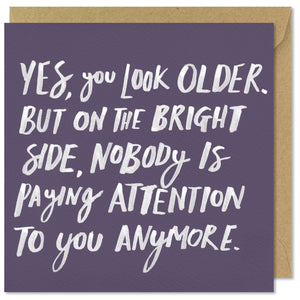 purple square birthday card you look older