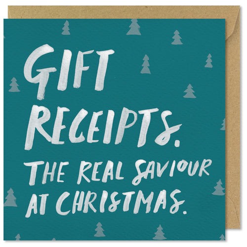 green square christmas card gift receipts saviour