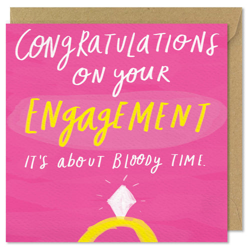 pink square engagement card