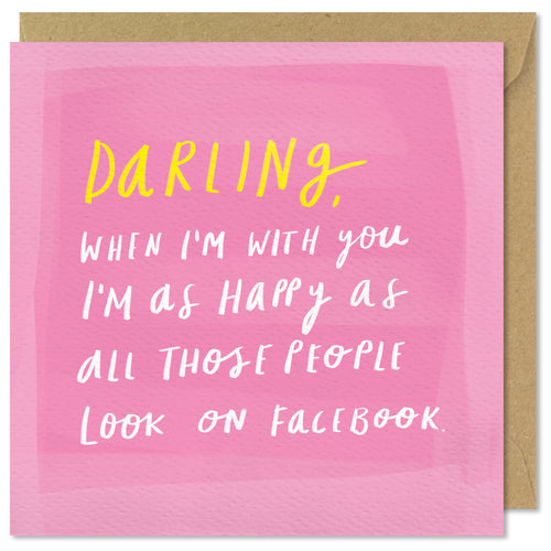 pink square love card