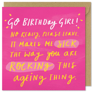 pink square birthday card