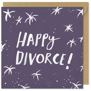 square purple greeting card happy divorce