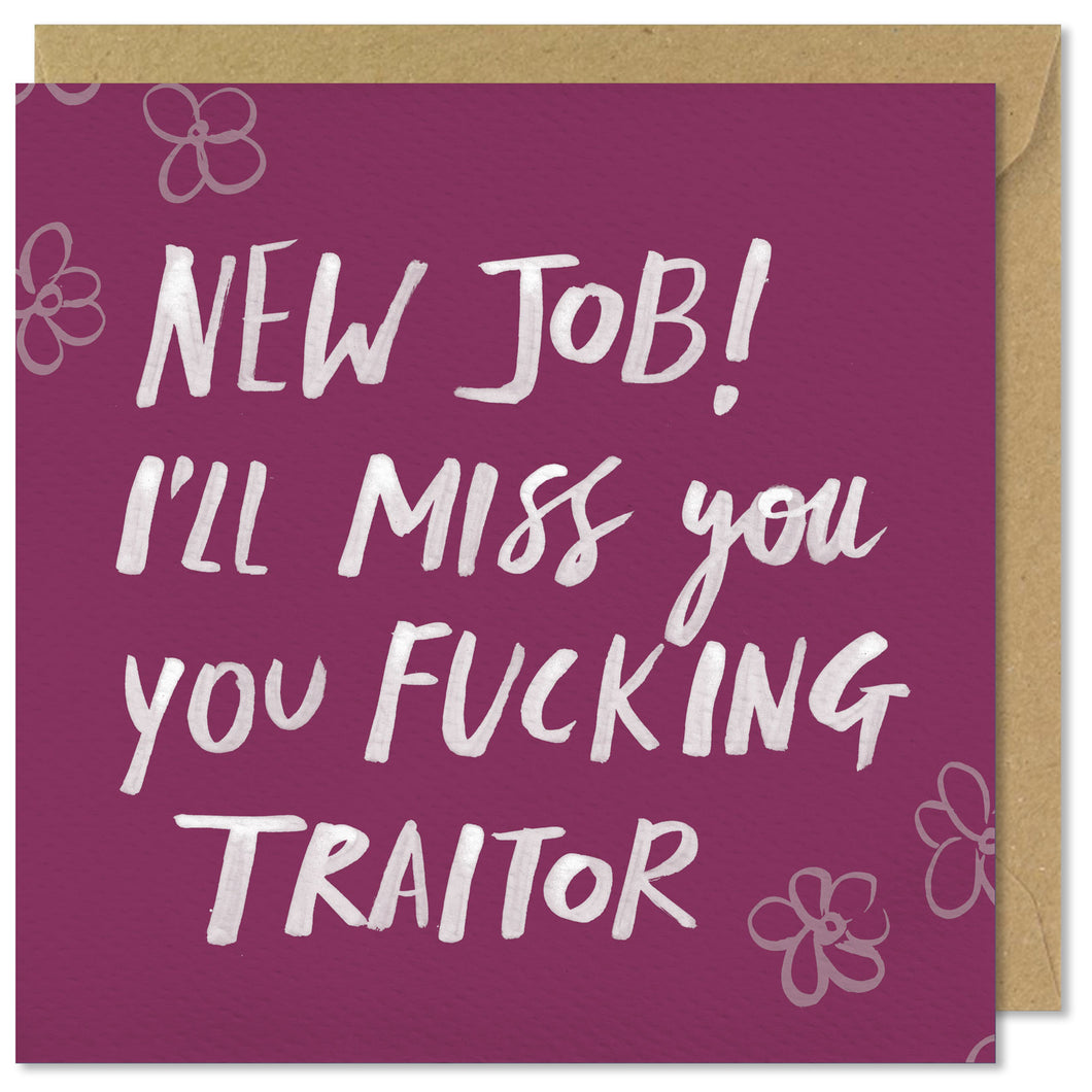 New job ill miss you you fucking traitor pretty mean pink square greeting card new job fucking traitor m4hsunfo Choice Image
